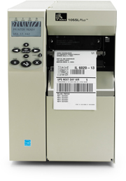 Zebra 105SLPlus (203dpi) with PARALLEL, RS-232 SERIAL, USB 2.0 and ZebraNet 10/100 Print Server - PEEL AND FULL ROLL REWIND (102-80E-00200)