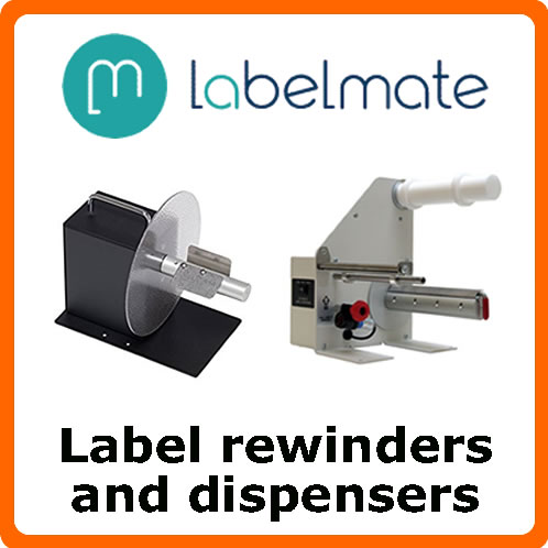 Label rewinders and dispensers