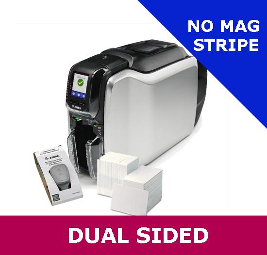 Zebra ZC300 dual sided card printer bundle - with USB & ETHERNET interfaces  incl  Card Studio 2 0, 200 PVC Cards & YMCKO Ribbon (ZC32-000CQ00EM00)