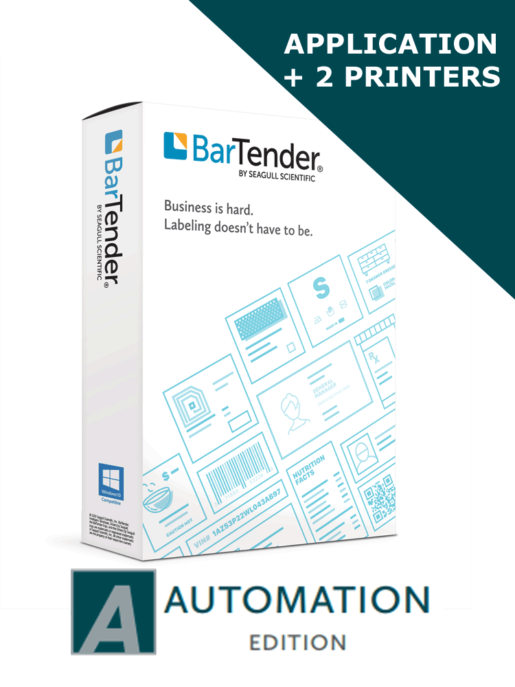 BarTender 2019 Automation Edition - Application License + 2 Printer  Licenses (BTA-2) - ELECTRONIC DELIVERY
