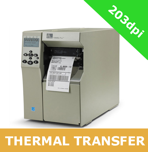 Zebra 105SLPlus (203dpi) with PARALLEL, RS-232 SERIAL, USB 2 0 and ZebraNet  10/100 Print Server (102-80E-00000)