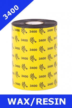 Zebra 3400 wax / resin thermal transfer ribbons - 110mm x 450m (03400BK11045)