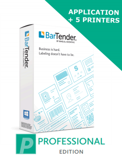 BarTender 2021 Professional Edition - Application License + 5 Printer Licenses (BTP-5) - ELECTRONIC DELIVERY - comes with one year of standard maintenance and support