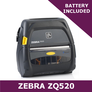Zebra ZQ520 direct thermal mobile printer / Includes battery / USB, Dual Radio & Active NFC (ZQ52-AUN010E-00)