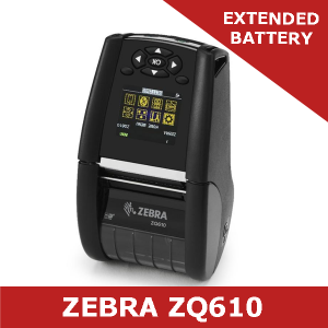 Zebra ZQ610 direct thermal mobile printer / Extended battery/ Dual 802.11AC and Bluetooth 4.1 (ZQ61-AUWAEC0-00)