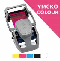 Zebra card ribbon - YMCKO Colour with black resin and overlay - full panel (800300-360EM)